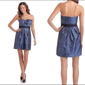 BCBG Max Azria strapless polka dot midi dress